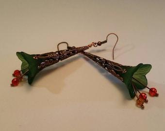 Green Flower Copper Drop Earring