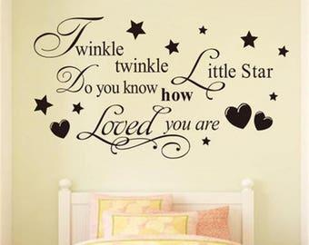 Twinkle Twinkle Little Star Wall Decal, Nursery Wall Decal, Baby Wall Decal, Nursery Wall Sticker, Wall Sticker for Bedroom, Kids wall decor