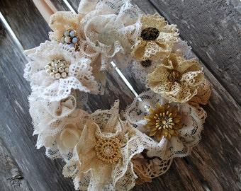 Doily Wreath - Vintage Baubles & Lace