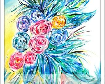 Original Art, Acrylic Painting,  Floral Art, Canvas Art, Wall Decor, Flower Painting, Floral Decor, Floral Wall Art