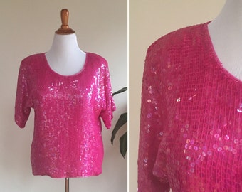 Lipstick Pink Party Top | vintage 1980s