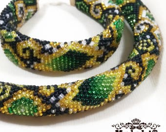 Jewelry Beaded Crochet Set Necklace and Bracelet in Green Gold colors. Gift for Her, for Mom, Original. Exclusive. Handmade. Roksolana.