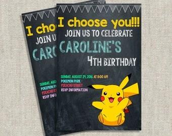 Pikachu Invites, Pikachu Invitation, Pokemon Birthday Invitation, Pokemon Party, Printable Invitation, PDF, Kids Invitation, Make for order