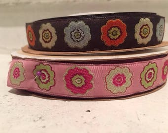 multicolor flowers jacquard ribbon