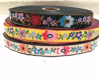 "5/8"" ( 16 mm) boho chic floral pattern edged jacquard ribbon"