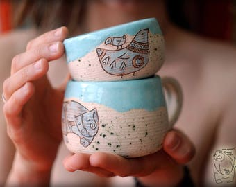 Ceramic set with cat and bird, pottery mug and pialat, Unique ceramics , Gift for her, mothers gift, Pottery teacup, Set for coffee