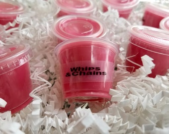 Whips and chains wax melts, kinky, wax melts, scent shots, soy wax melts, wax tarts, shot cups, Scented wax melts, musk and citrus wax melts