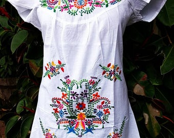 Mexican Embroidery Crochet Pattern White Cotton Dress, Festival Dress, Shamanic White Dress, Gypsy, Bohemian, White Tunic, Mexican Tunic