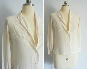 1940s Bai hua silk top | vintage silk top