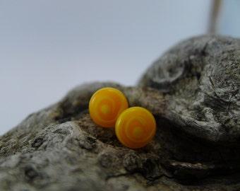 Lampwork stud earrings, orange, yellow