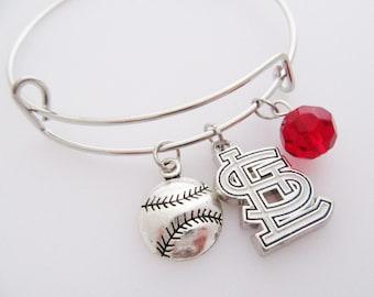 St Louis Cardinals Bangle Bracelet - Gift For Her - Saint Louis STL