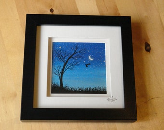 Original ink painting, 'Midnight Moonflight'. Starry sky, silhouette, owl and a tree