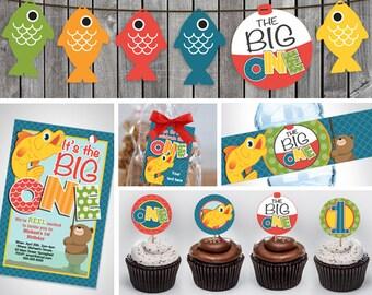 The Big One Birthday printable | First Birthday Invitation | Fishing Birthday Party | Birthday Party printable kit | Boy birthday party