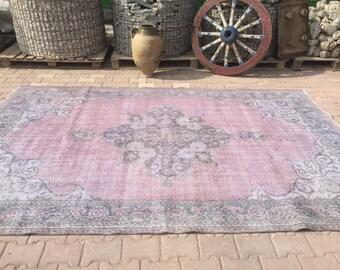 XL Oushak Vintage Rug,Pale Muted Colors Area Rug,Vintage Handwoven Living Room Rug,Home Decor Floor Rug,Pastel Oushak,6'10''x10'4''ft