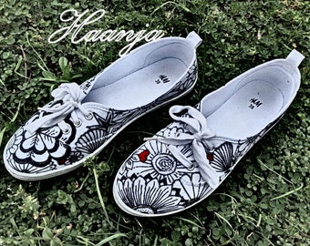 Hand painted flower style shoes