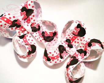 Minnie Mouse Bow, Minnie Bow, Disney Bow, Minnie Mouse, Minnie, Disney, white, pig tail bows, polka dot, hair bows, pick your ribbon