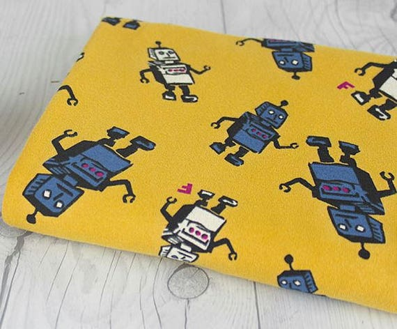 Robot knit fabric boy knit fabric baby knit fabric robots for Baby monster fabric