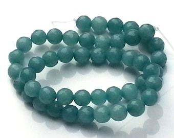 Jade turquoise beads - jade beads - 8mm beads - round beads - gemstone beads