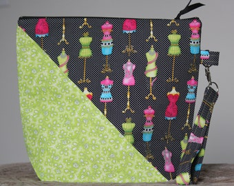 Project Bag, Knitting Bag, Sewing Bag, Zippered Pouch