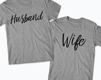 Husband Wife Matching T-Shirts Hubby Wifey Matching Couple Shirts. Wedding Shirts Honeymoon Shirts Gifts  Mr and Mrs Shirts Just Married