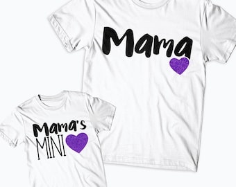 Mama's Mini Matching Shirts - Mom Life Kid Life, Girls Shirts  Mother's Day- Mommy's Mini - Glitter Shirt Mommy and me Gift Like Mother