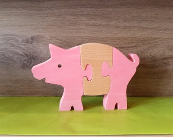 wooden toy puzzle pig