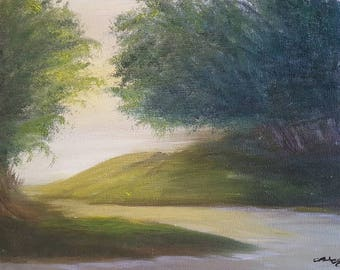 """Summer Oil Painting Landscape Print 8.5""""x11"""" print -Over the Hill and Far Away-"""