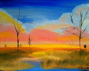 "Summer Oil Painting Landscape *Print* 8""x10"" -The Old River-"