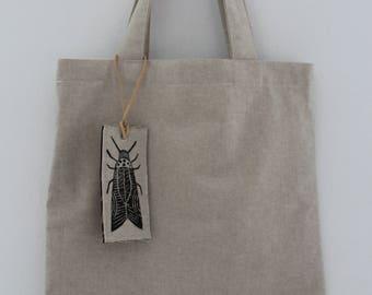 SALE!! Tote bag, hand-printed, linen bag, market bag, beach bag, linen, beetle pattern