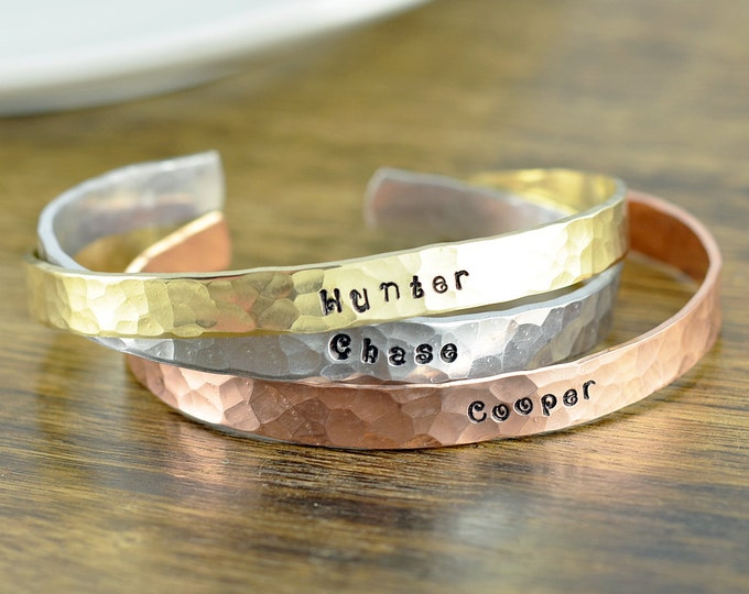 Custom Cuff Bracelet, Personalized Cuff in Copper, Brass, Silver, Personalized Jewelry, Mothers Bracelet, Mommy Jewelry, Kids Name Bracelet