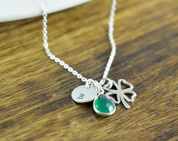 Initial Necklace, Lucky Clover Necklace, Four Leaf Clover Necklace, Lucky Necklace, Shamrock Jewelry, Emerald Gemstone , Good Luck Gift