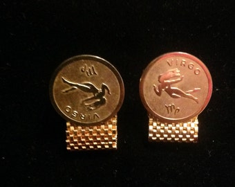 Vintage Virgo Cuff Links Gold Tone 1970's Horoscope Cuff Links Mens Cufflinks