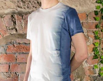 Hand dyed natural bleed mens womens tshirt blue grey