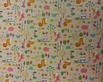 Woodland Family - Pink - Fabric Cotton/Linen Material By Metre  Vintage Look Patchwork Cushions PERFECT FOR BAGS Bunting