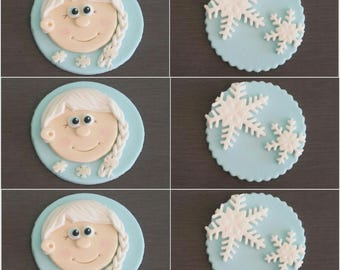 6 x Frozen Cupcake toppers, Edible frozen toppers,