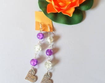 love earrings heart purple and transparent glass