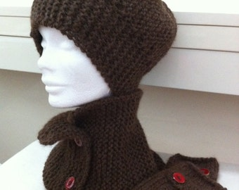 Scarf-round neck, hat and mittens set