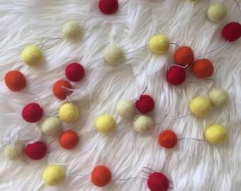 Felt Ball Garlands / Fall Felt Garland / Nursery Garland