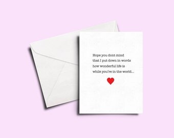 Personalised greeting card - personal message. valentines. personalized.