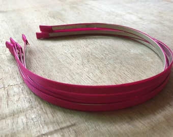 10pieces hot pink satin metal hair headband covered 5mm wide