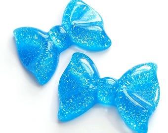 36mm blue glitter bow cabochon resin flatback accessories kawaii jewelry supply decoden supplies phone case *4BD5BLUE