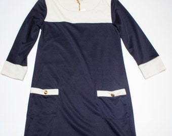 3/4 sleeve dress blue and white size 40