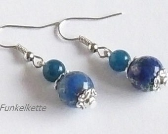 Earrings blue earrings earrings earrings gemstone earrings Jasper beads silver perfect for her outfit classy and chic