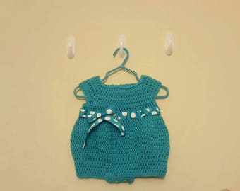 Baby Girl Romper with Polka Dot Bow