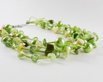 Vintage Green Multi Strand Shell Necklace