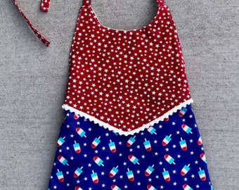 Fourth of July Romper, Patriotic, 4th of July outfit, Infant Romper, Red White and Blue, Independence Day