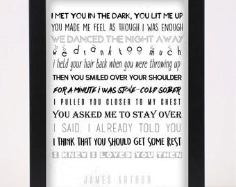 James Arthur - Say You Won't Let Go - Pop and Indie Prints Typography Poster Print