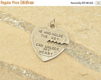 On Sale He Who Holds The Key... Heart Vintage Charm / Pendant Sterling Silver 2.7g