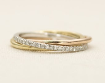 Solid 14K Gold Convertible Simple Plain Rolling Rings Wedding Band Stacking Ring AD1217