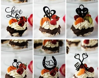 Romantic Black Cupcake Decorations ideal Cupcake Toppers in or Cupcake picks for your Wedding Cupcakes, Engagement Cupcakes black in colour